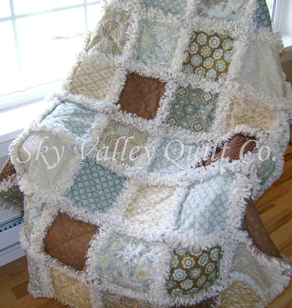 Home Decor Rag Quilt Misty Blue and brown by skyvalleyquiltco