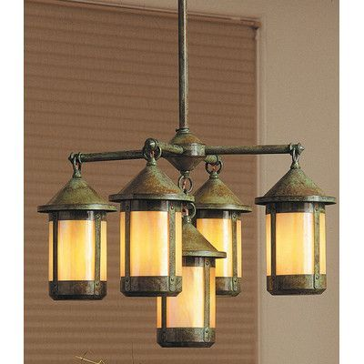 Arroyo Craftsman Berkeley 5 Light Sputnik Chandelier Finish Antique Brass Shade Color