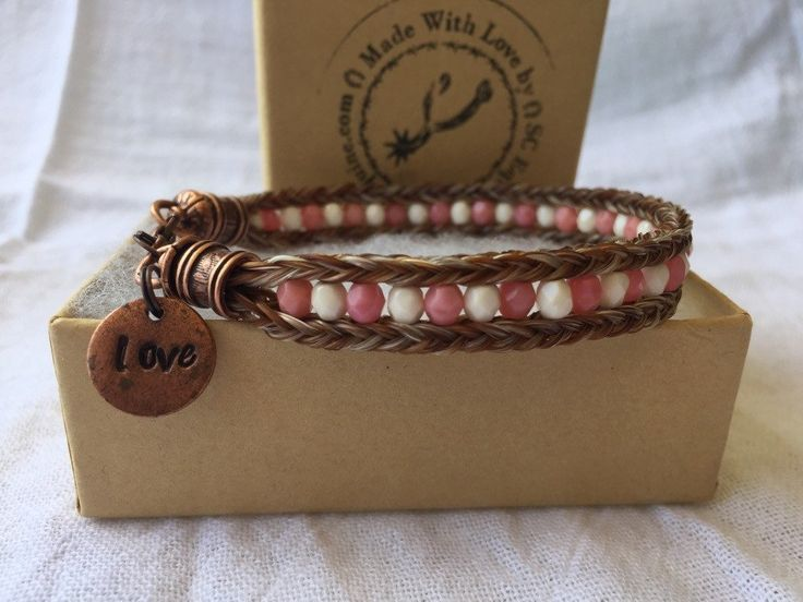 Double Braided Horse Hair Bracelet with Czech Glass Beads and Hand Stamped Tag