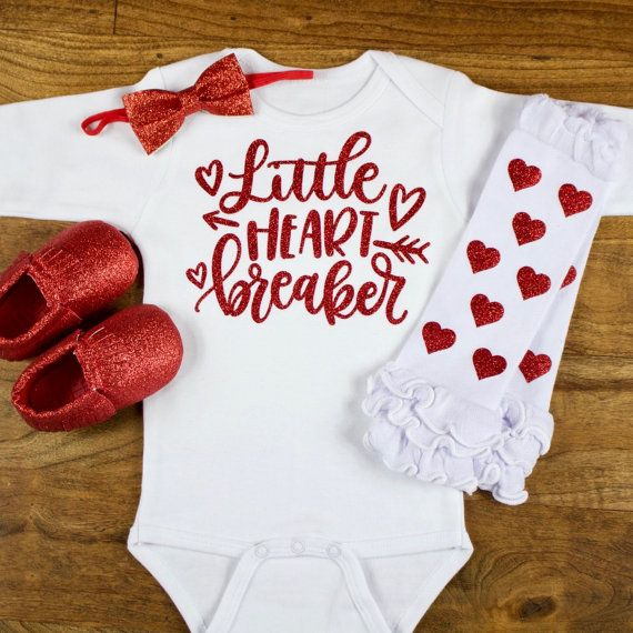 "My First Valentines Day Outfit | ""Little Heart Breaker"" Onesie W/ Red Heart Leg Warmers Set 