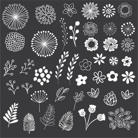 Chalkboard Floral Clipart – Clip Art – Floral Clipart – Chalk Clipart – Rustic Clipart – Boho Clipart – Vector AI and PNG – Instant Download