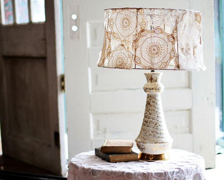 DIY Doily Covered Lamp Shade Project : DIY Doily Crafts