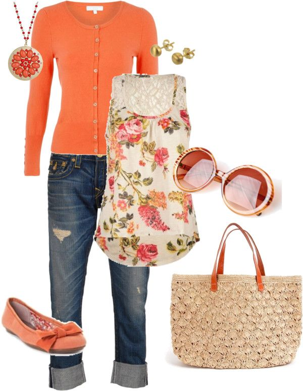 Spring Outfit: Shoes, Floral Tops, Fashion, Color, Spring Summ, Tanks Tops, Spring Orange, Closet, Spring Outfit