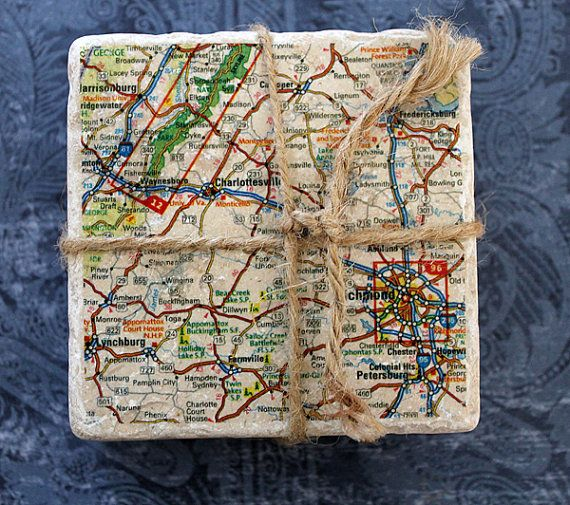Marble coasters  Charlottesville/Richmond Map by ByCary on Etsy, $49.00