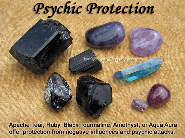 Psychic Protection Crystal Healing Set - Amethyst, Apache Tear, and Black…