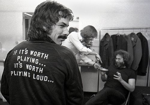 Mickey's Motto (Mickey Hart, Grateful Dead) This shot was taken in the dressing room of a concert hall in Boston during a spring 1977 tour. By Peter Simon.