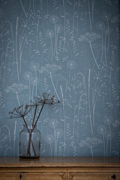 Paper Meadow wallpaper in teal by Hannah Nunn