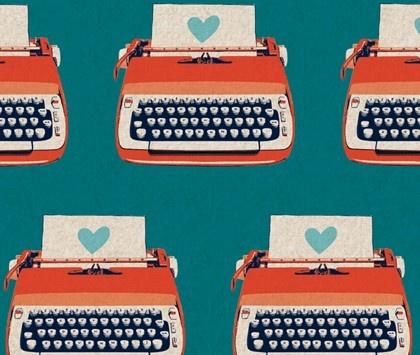 Ruby Star Shining Typewriters Teal Melody Miller Kokka