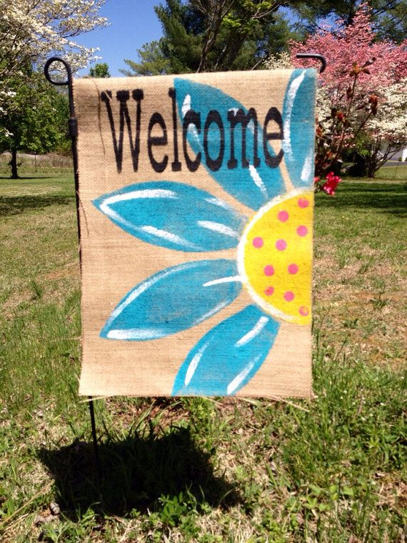 Bright Teal Flower Burlap Flag on Etsy, $20.00 (Outdoor Wood Paint)