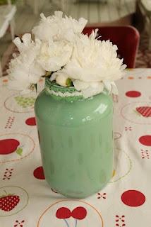 DIY vase -  Large pickle jar - craft paint swirled inside - add vintage trim