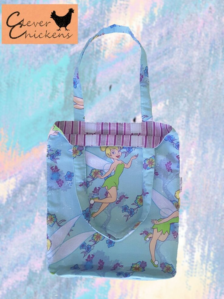 Tinkerbell library bag featuring padded handles and velcro closure
