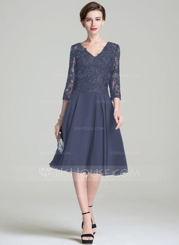 39e5c3b326e2 A-Line/Princess V-neck Knee-Length Chiffon Lace Mother of the Bride Dress