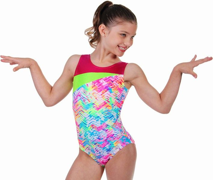 This nylon lycra leotard is covered with splashes of bright color. The top is accented with cherry red and neon green mystique nylon lycra. Matching hair scrunchie included. $42