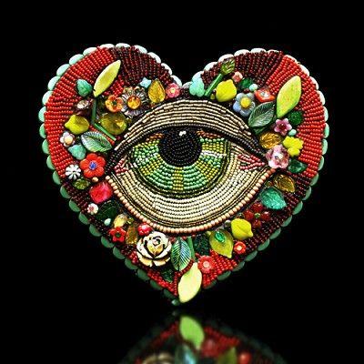 """Large Eye Heart"" by Betsy Youngquist @Karen Jacot Jacot Jacot Hanson Fine Art Glass Pismo Fine Art Glass"