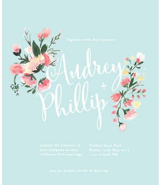 The Most Gorgeous Watercolor Wedding Invitations // (Left ) Hand Painted Floral  Wedding Invitation. Decorated with beautiful bouquets of pink and blush blooms, this powder blue wedding invitation with whimsical script text
