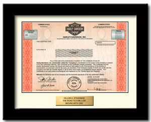 Cool gift-- a genuine stock certificate, 1 share of Harley Davidson, framed. http://www.giveashare.com/stock.asp?buy=Harley-Davidson-stock_source=facebook_medium=ppc_campaign=HarleyNewsFeedAd
