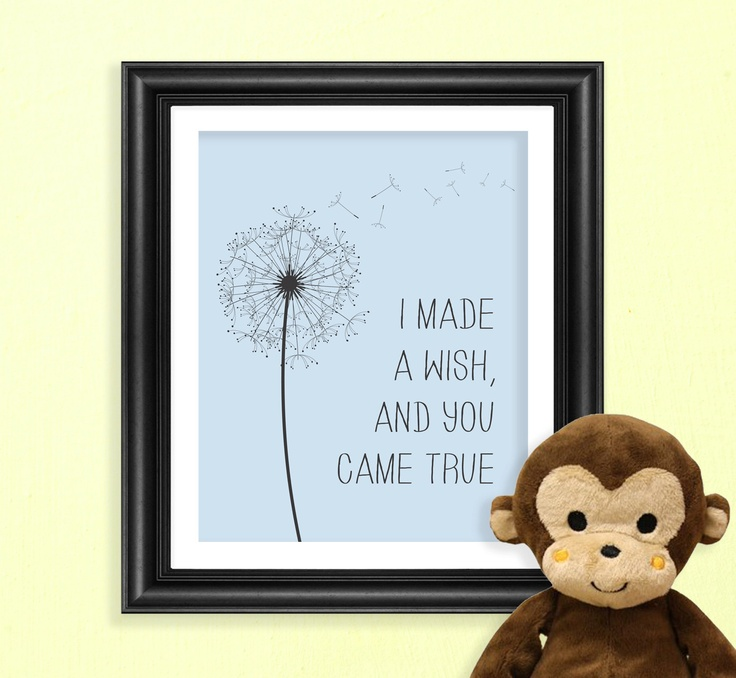 PRINTABLE Blue Dandelion I made a wish, and you came true 8x10 Quote Poster Print.