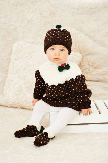 Make this adorable Christmas pudding jumper, hat & socks set using our knitting pattern