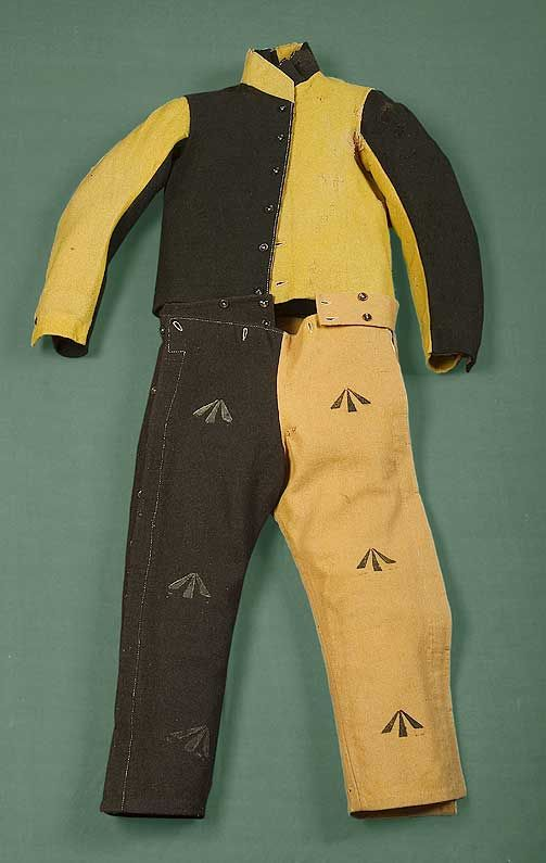 1830-49 convict uniform. This image is attached to a great article describing the side seams being buttoned not stitched so the convict could dress without removing the leg irons.