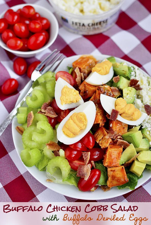 Buffalo Chicken Cobb Salad with Buffalo Deviled Eggs is an addicting mix of spicy, bold, and zesty flavors.   iowagirleats.com