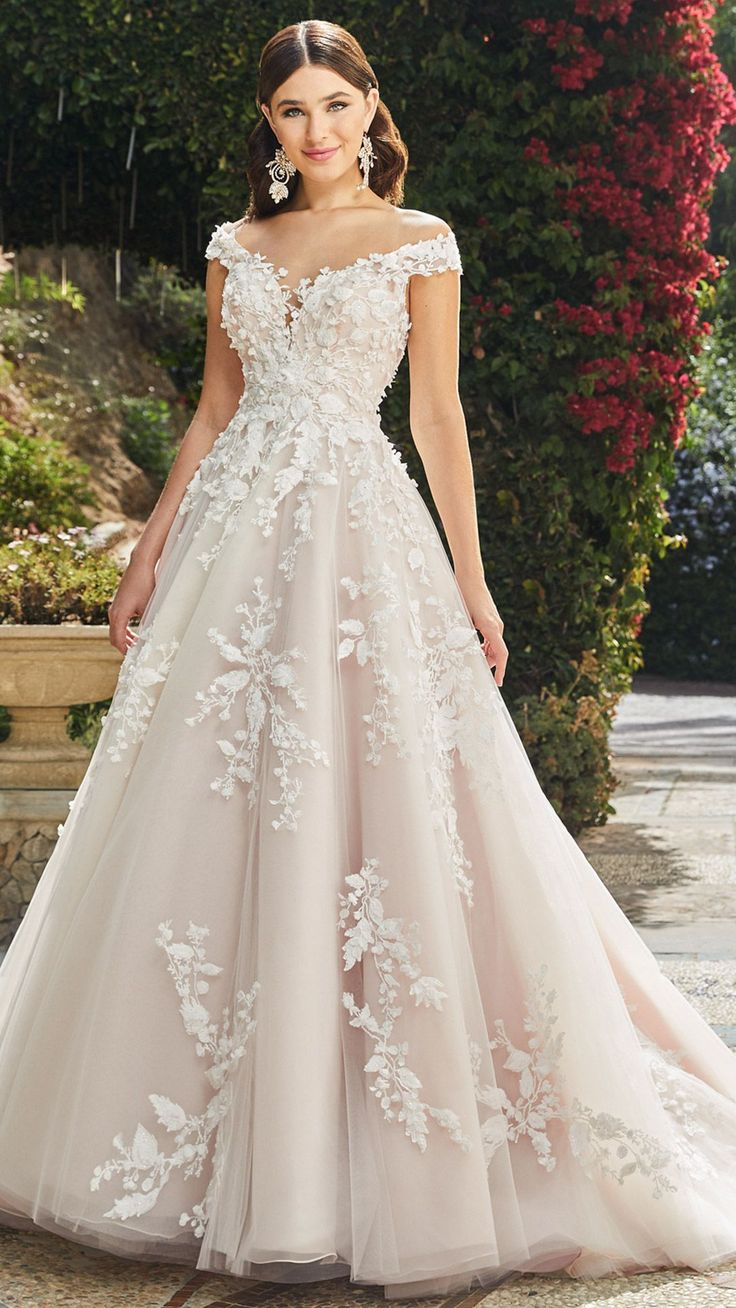 $162, Gorgeous Ball Gown Off Shoulder Wedding Dress With