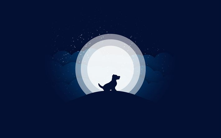 Download wallpapers 4k, moon, dog, night, digital art
