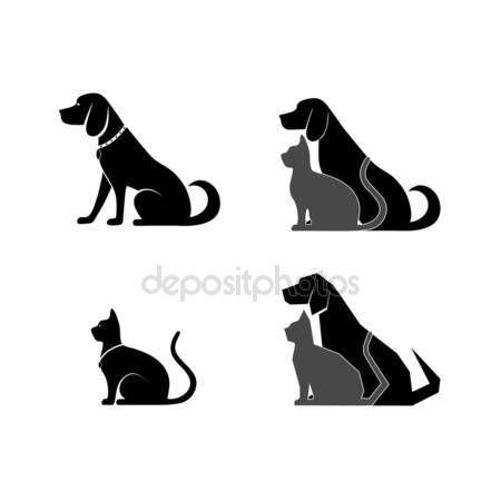 Silhouet van een kat en hond voor uw ontwerp — Stockillustratie #54015359