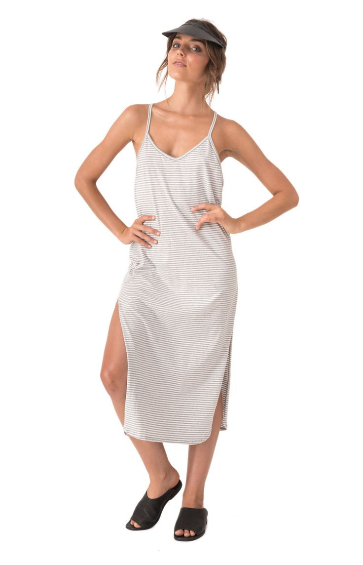 Cotton Cami Dress Tilly Grey Marle Stripe – The Bare Road