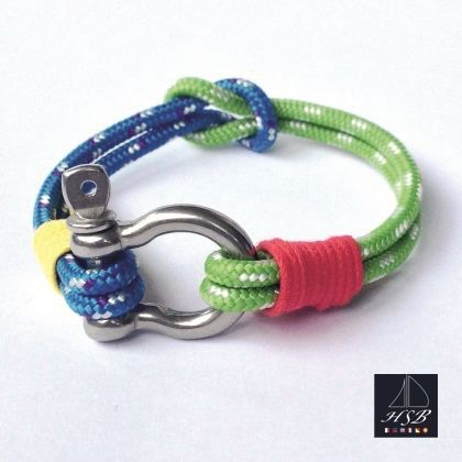 Blue and green paracord bracelet with red and yellow line and stainless steel shackle - 45 RON