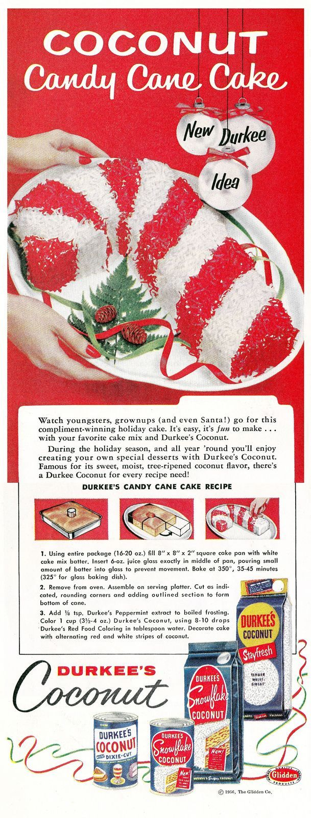Vintage Christmas ad - Durkee's candy cane cake (1956)
