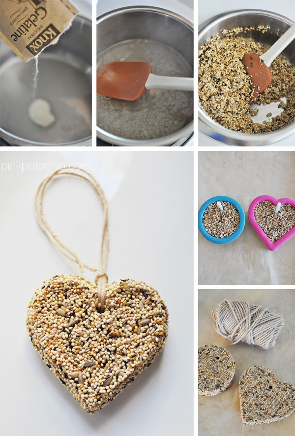 In small saucepan, add 2 pkts Knox getalin & 2/3 c water. Stir until disolved & heat to medium. Stir until gelatin simmers. Remove from heat. Stir in 2 c birdseed. While cooling (2 min) line baking sheet w/ wax paper. Spray 2 cookie cutters. Spoon birdseed mixture into cutters. Insert straw to create hole for hanging. Cool cookie sheet in fridge 1 hour or until solid. Remove cutter and straw. Tie w/ twine. Makes 2.