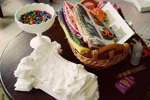 Baby Shower Decorations Using Onesies ~ At baby shower set up a quot make onesie station for