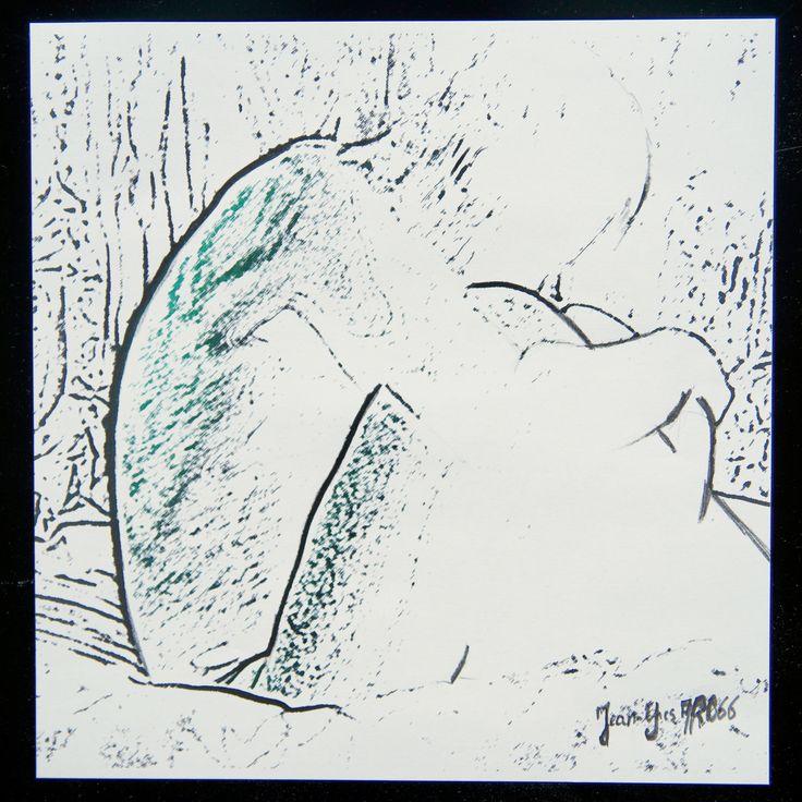 Méditation Technique mixte Photo, encre, mine de plomb sur papier 20 x 20. Par Jean-Yves ARO66