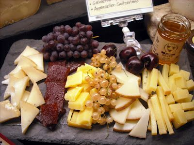 Cheese Tray - Have variety, there are seven styles of cheeses out there to choose from [fresh - soft ripened - semi-soft - semi-hard - hard/aged - washed rinds - blue cheese]. Sweet and savory love each other, by adding jam, honey, fruit or fruit pastes to the plate they will play off each other beautifully. Crackers/bread, go light and simple.
