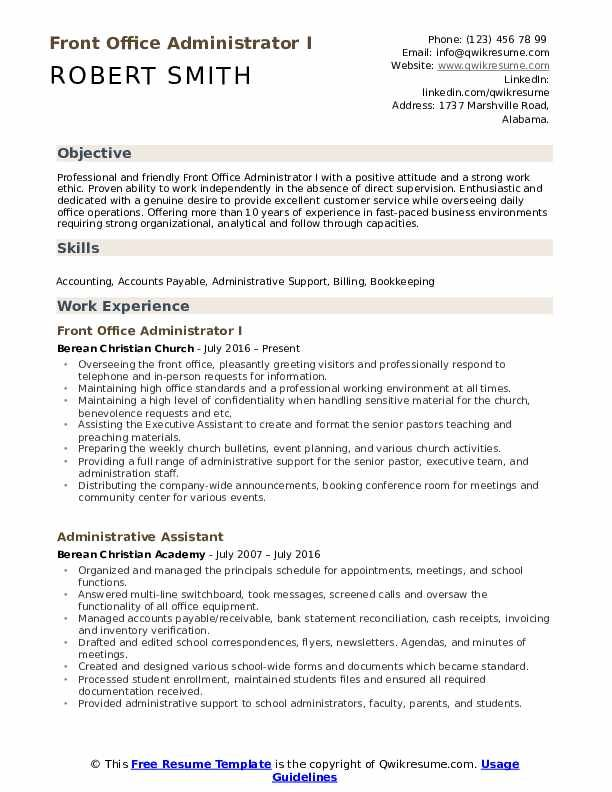 Front Office Administrator Resume Samples Qwikresume Administrative Assistant Resume Resume Examples Resume Skills