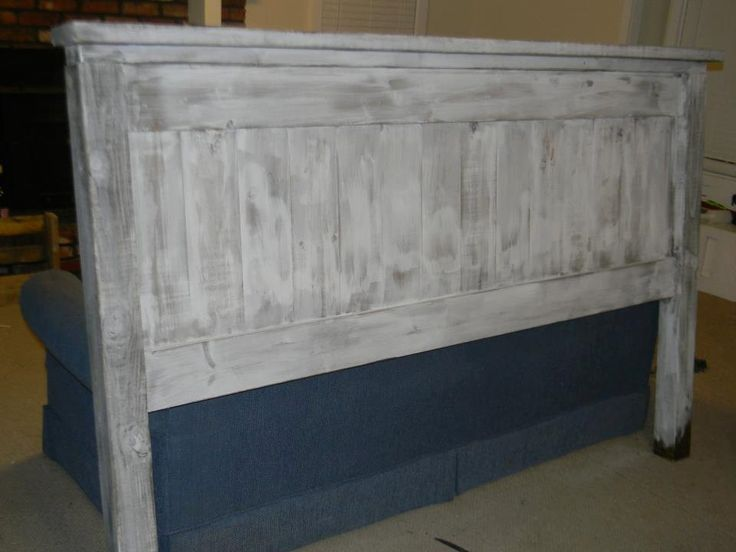 White Washed Lightly Distressed King Headboard Project