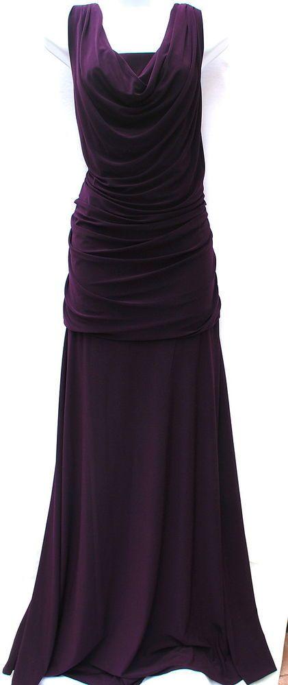 Night Way long gown evening plus dress elegant stretchy sleeveless cowl sz 22W #NightWay #Sheath #Formal