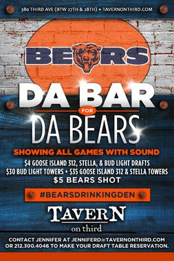TAVERN on Third is the #1 Chicago Bears bar in New York City and plays every Bears game with sound. Sip on one of our 20 draft beers while watching Matt Forte, Brandon Marshall, and Jay Cutler team up and score touchdowns all season long.