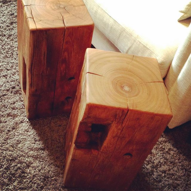 """Pair of beam block tables 22"""" tall perfect height for side tables. Love the pockets and love the old growth grain! #ruff #rustic #barnboard #sidetable #welikeitfuff #pockets #barnbeam #custom #burlont #grimsby #reclaimedwood #gotwood #likeitruff #barnwood #handmade #home #furniture #hamont #ontario #design #woodworking #beam #pinewood #design #carpentry  #custommade #ruffhandmade"""