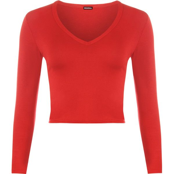 Rosetta V-Neck Crop Top (£11) ❤ liked on Polyvore featuring tops, red, form fitting tops, crop top, rayon tops, red v neck top and long sleeve crop top