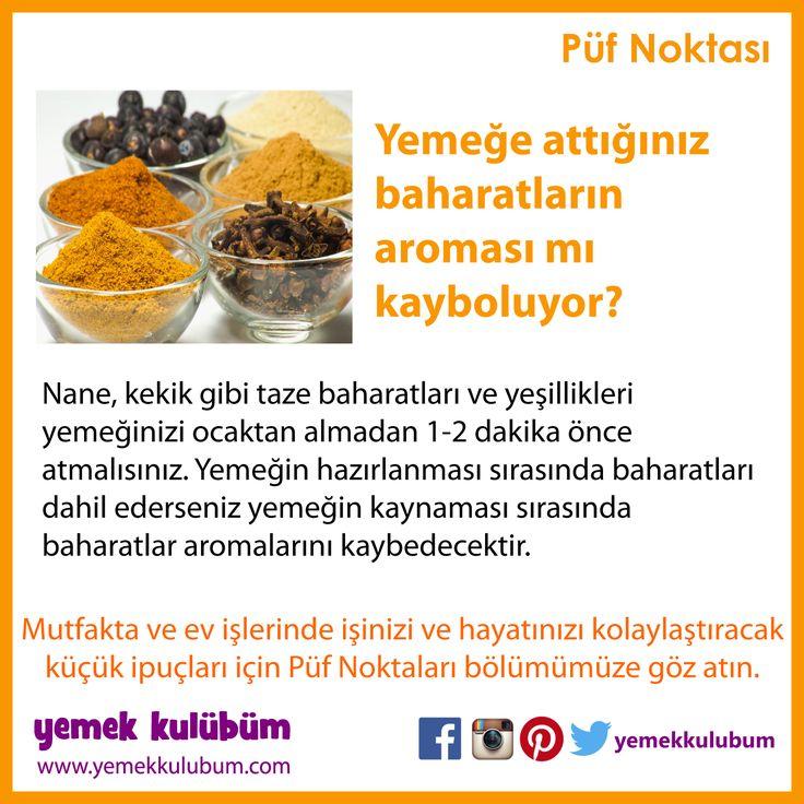 YEMEK YAPMANIN PÜF NOKTALARI : Yemeğe attığımız baharatların aroması mı kayboluyor?  #baharat #nane #kekik #karabiber #kimyon #yemek #yemekhazırlama #yemekyapma #püfnoktası #püfnoktaları #pratikbilgiler   http://yemekkulubum.com/puf-noktasi-liste/yemek-hazirlama-ile-ilgili-puf-noktalari