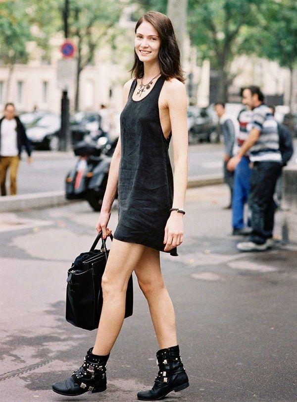 black-dress-street-style-boots-cowboy