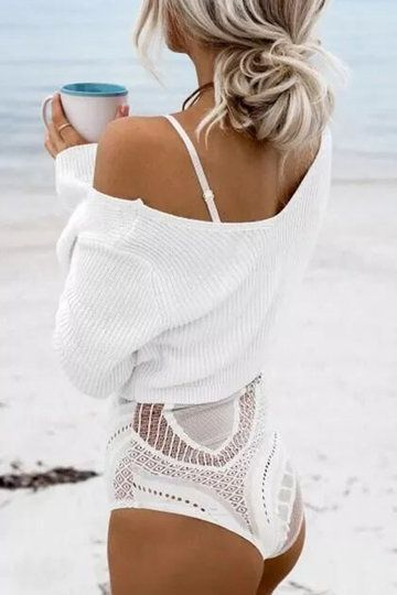 White Sexy V-neck Knitted Long Sleeves Jumper