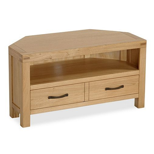 Tesco direct: Abbey Waxed Oak Corner TV Stand - Corner TV Unit - Waxed Finish