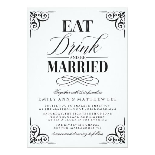 256 best eat drink and be married wedding invitations images on, Wedding invitations