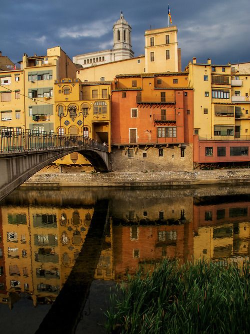 Reflections in the onyar river girona spain