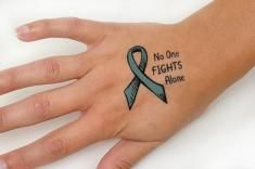 No One Fights Alone Temporary Ribbon Tattoo - Ovarian Cancer (Teal)
