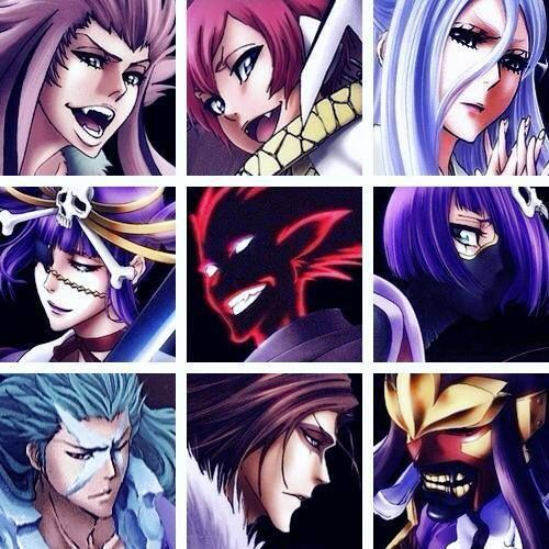 Anime/manga: Bleach Characters: Saru, Hebi, , Sode No Shirayuki, Katen Kyokotsu, Kazeshini, Katen Kyokotsu, (Daiguren) Hyorinmaru, Muramasa, and Senbonzakura (Kageyoshi)