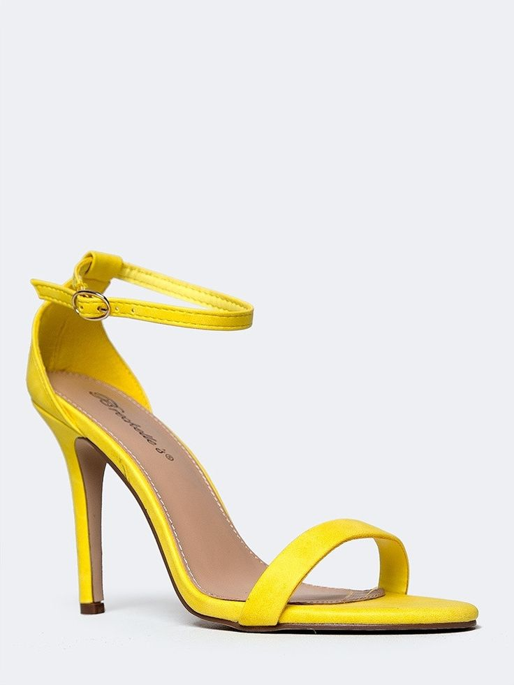 - Ankle strap heels will always be chic and timeless. - These vegan leather sandals are made with a thin strap and buckle closure at the ankle and a single strap across the toes for a style that will