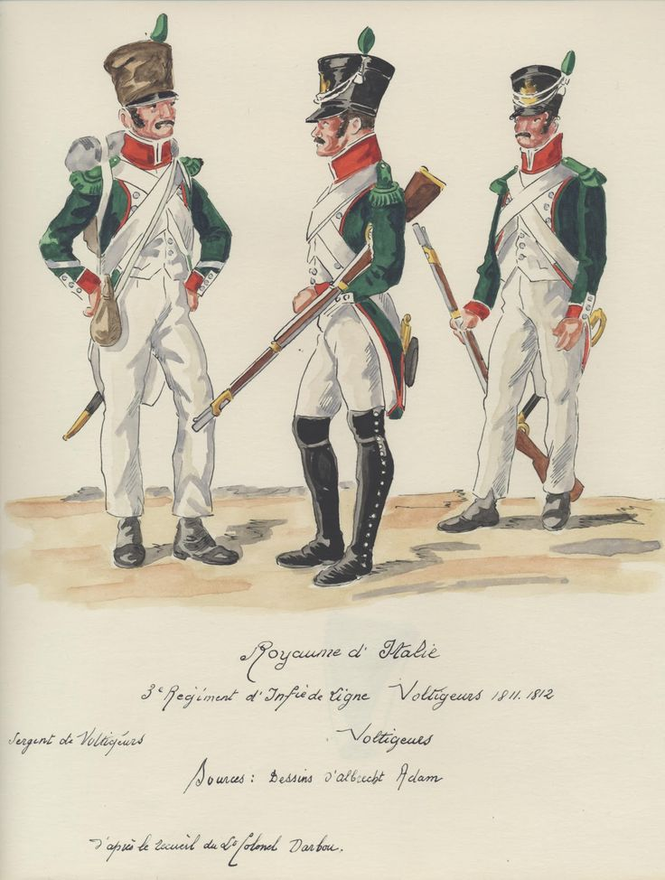 Italy; 3rd Line Infantry, Voltigeurs 1811-12, Sergeant and two Voltigeurs.